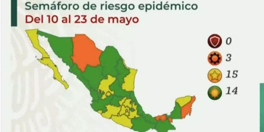 Sigue Tamaulipas en color amarillo