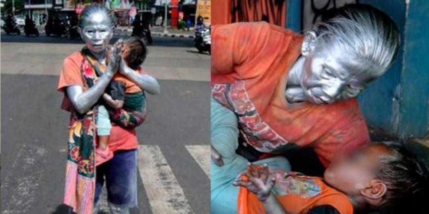 Abuelita trabaja como estatua para dar de comer a su nieto de dos años